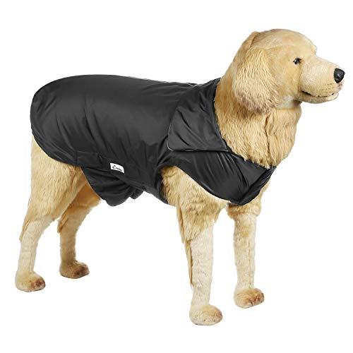Hi Kiss Dog Coat Jacket Padded Vest Ski Suit for Large Dogs in Cold Weather-Black 4XL (Padded Coat Dog)