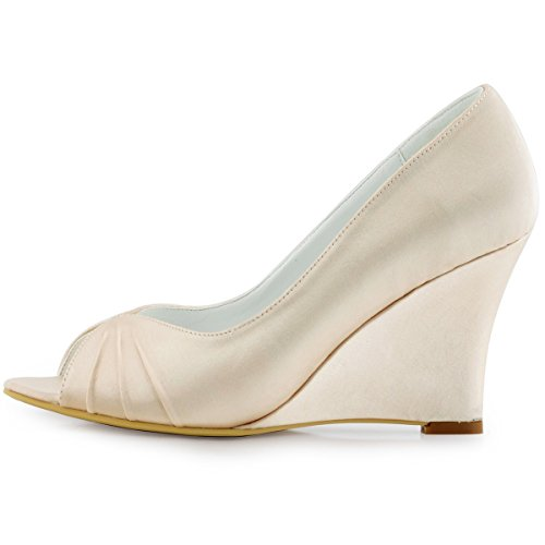 Toe Women EP2009 Shoes Wedding Champagne Pleated Heel 4 US ...