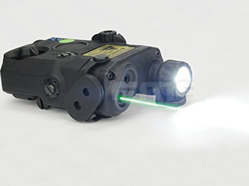 H World Shopping Airsoft Version PEQ LA5 Upgrade Version LED White Flashlight + Grn l-a-s-e-r w/ IR AEG GBB CQB BK (Box Peq)