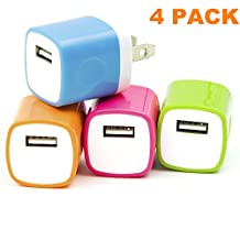 (4 Pack) Asstar Universal USB Power Adapter Wall Charger, Easy Grip Home Travel Wall Charger Adapter for iPhone 7/7 plus 6/6 plus 5S Samsung Galaxy S7 S6 S5 Note 5 HTC One M8 LG G2 G3