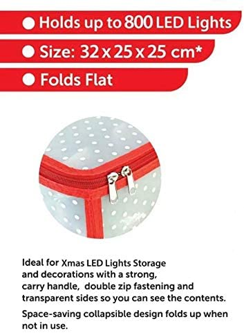 ALAYSTAR Christmas LED lights Storage Box Xmas Decoration Box with Sturdy Carry Handle Can hold up to 800 LED Xmas Lights