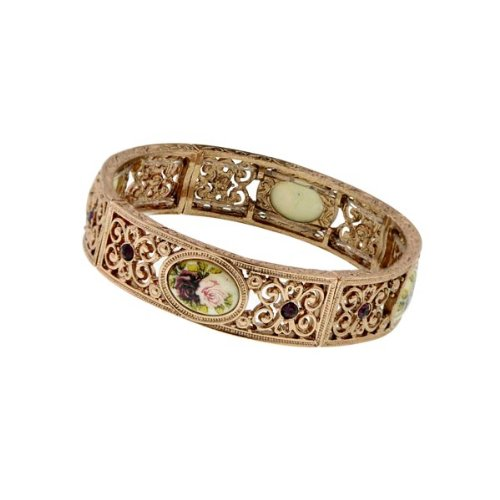 1928-Jewelry-Victorian-Inspired-Floral-Manor-House-Rose-Gold-Tone-Bracelet