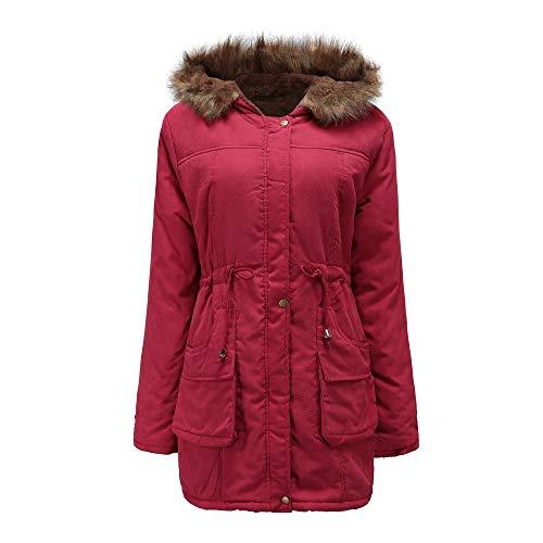 vpass Womens Winter Warm Overcoat Jacket Windbreaker Loose Parka Faux Fur Parka Collar Hooded Coat Pullover Outwear Red