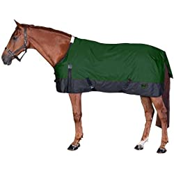 Saxon 1200D Ripstop Standard Neck Lite 2 Tone Turnout Blanket with Gussets, Hunter/Black, Size 75