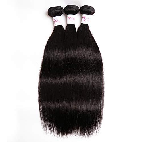 2d06410cfbe9 Brazilian Human Straight Hair 3 Bundles With Lace Closure Wig Cap Virgin  Human Hair Bundles With Free Part 4X4 Lace Closure Wig Cap for Women  Natural ...