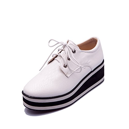 VogueZone009 Women's Round Closed Toe Lace-up PU Solid Low-Heels Pumps-Shoes White