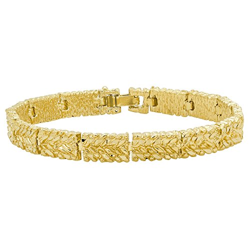 Gold Plated 7mm Wide Nugget Pattern Link Bracelet, 8 Inch + Microfiber Jewelry Polishing Cloth
