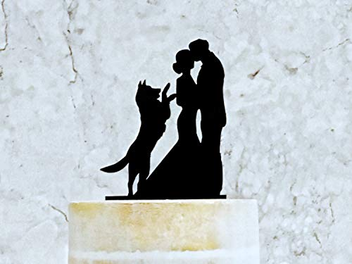 Bride And Groom Wedding Cake Topper With Dog, Wedding Cake Topper With German Shepherd, Cake Topper Win Dog, Pet Wedding (German Shepherd Cake Topper)