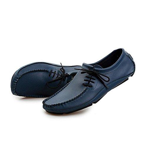 Respirables Ocasionales conducción Hombres Cuero de Zapatos de los Azul Verano de de Zapatos gwBpxRPF