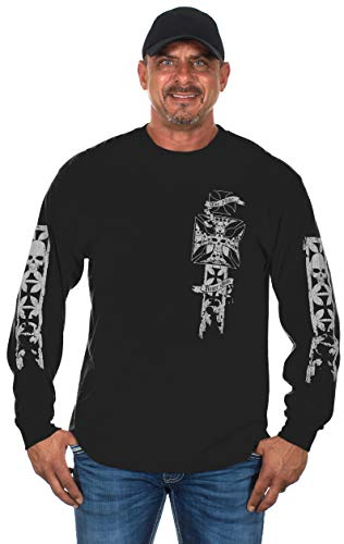Mens Graphic Print Iron Cross & Skull Design Long Sleeve Biker T-Shirt in 5 Colors (4X, Black & Gray)