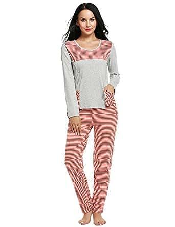 Ekouaer Cotton Sleepwear Womens 2 PC Cute Soft Pajama Sets Lounge Outfits (Red, Small)