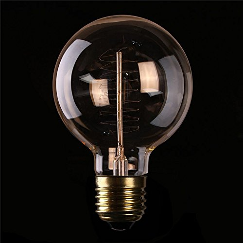 Vintage Edison Bulbs with Spiral Filament Golden Finish Industrial Design Amber Warm 120V 60W Dimmable E26//E27 G95 Round Globe Large Antique Light 6 Pack