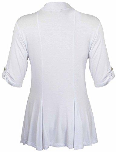 Funky Fashion Shop - Camiseta de manga larga - trenca - para mujer blanco