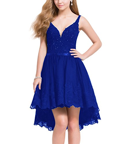 Bridal V Royal Dresses Evening Neck Banquet High Party Low Beauty Short Prom Deep Blue dqfwdS