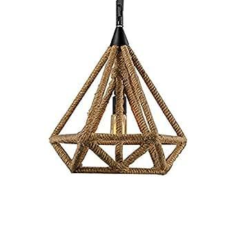 Ting-w E27 Retro Vintage hemp rope Chandelier 1-light triangle Pendant hanging ceiling lamp american island aritical lighting