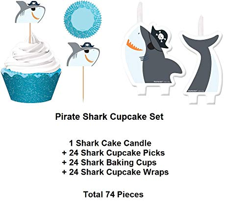 Pirate Shark Ocean First 1st Cake Candle PLUS 24 Matching Cupcake Picks and Glitter Blue Liners Decoration Party- 74 Pieces