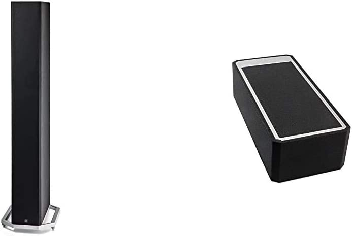 """Definitive Technology BP-9060 Tower Speaker   Built-in Powered 10"""" Subwoofer for Home Theater Systems & A90 High-Performance Height Speaker Module for Dolby Atmos, Black - Pair"""