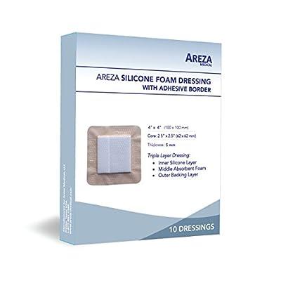 "Silicone Foam Dressing with Border (Adhesive) 4"" X 4"" (10 Cm X 10 Cm) 10 Per Box"
