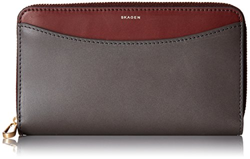 Compact Zip Wallet Leather Wallet, Pewter, One Size by Skagen