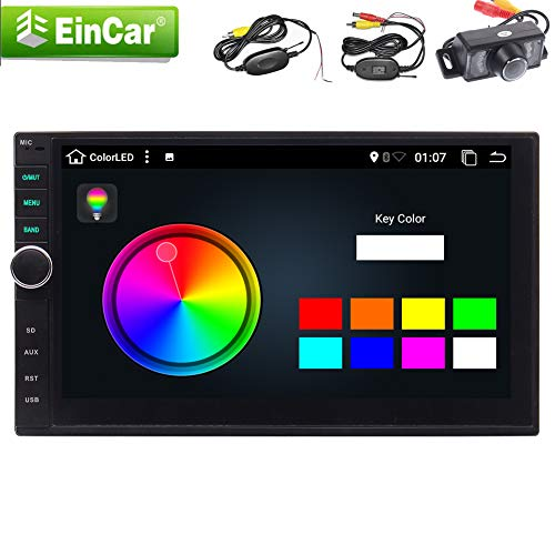 2019 Android 9.0 inch HD Car Stereo System Double Din Head Unit in Dasg GPS Navigation FM/AM Radio Receiver 2 Din Video Player RAM:2GB Support Mirrorlink WiFi USB SD OBD2 1080p with Wireless Rear
