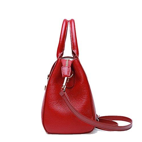 Rojo de Piel hombro Lisa mujer Bolso Medium al Valin para qftAzA