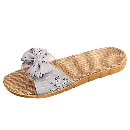 Women Bowknot Flip Flops Slipper TANGSen Casual Summer Beach Bohemia Linen Slipper Fashion Indoor Ladies Sandals Grey ()