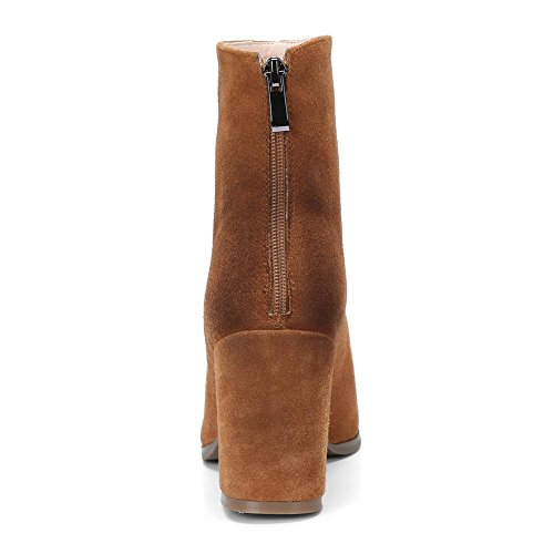 NVXIE Womens Short Boots Boots Square Head Mid Rough Heel Genuine Leather Scrub Fall Winter BROWN-EUR37UK455 sqQe3w