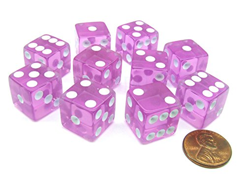 16mm d6 Square Cornered Translucent Dice, Orchid w/ White - Translucent Orchid