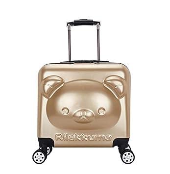 HoEOQeT Maleta para bebé con Maleta para niños, 18 Pulgadas, Barra de Remolque de Dibujos Animados, Equipaje de Viaje (Color : Gold): Amazon.es: Equipaje