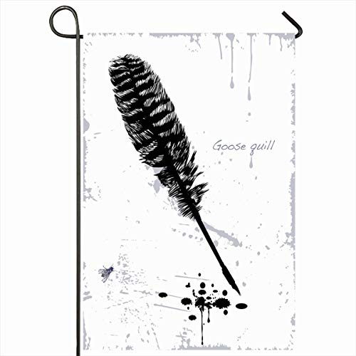 Ahawoso Outdoor Garden Flag 12x18 Inches Autograph Fly Ancient Drawing Goose Quill Blots Simple Fauna Pen Vintage Black Outline Brush Flourish Home Decor Seasonal Double Sides House Yard Sign Banner