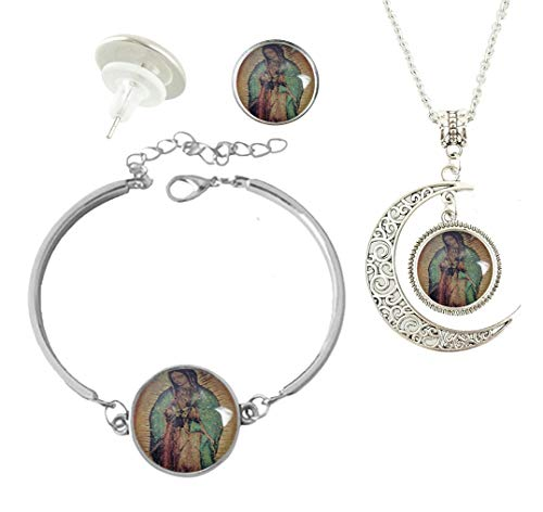 (Baoquan Our Lady of Guadalupe Mosaic Custom Fashion Charm Silver Plated Hollow Crescent Pendant Necklace Stud Earring Bracelet Jewelry Set )