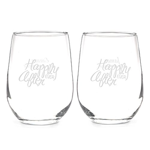 Free Hortense B Hewitt Happily Ever After Stem Less Wine Glasses, Set of 2
