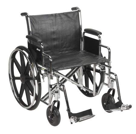 McKesson Drive Wheelchair Dual Axle/Heavy Duty Detachable Padded Desk Arms Composite Black 22 Inch 450 lbs ()