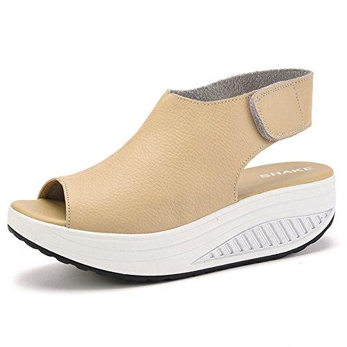 Tone Platform Sandals (SHAKE Women's Shape Ups Leather Strength Fitness Comfort Walking Wedges Sandals Platform Shoes For Women (7.5US=Women EU 39, White Beige))