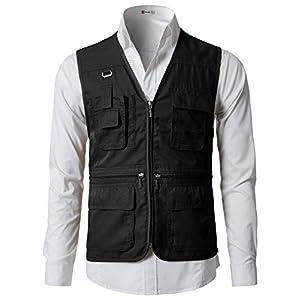 H2H Men's Outdoor Photography Hunting Fishing Vest Multipocket Waistcoat Jacket BLACK US S/Asia M (KMOV0113)