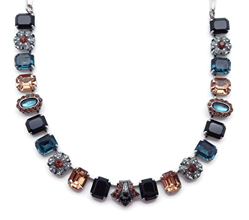 (Mariana Venetian Night Swarovsk Crystal Silvertone Necklace Rectangle Blue Brown Black Mix Mosaic)