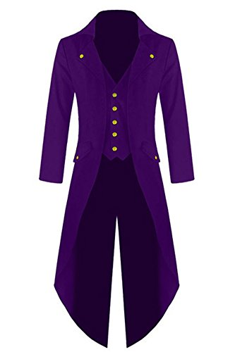 Pxmoda Men's Steampunk Vintage Tailcoat Jacket Gothic Victorian Frock Coat Uniform Costume (M, Purple) ()