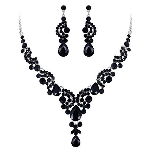 EVER FAITH Rhinestone Crystal Bridal Floral Wave Teardrop Necklace Earrings Set Black Silver-Tone
