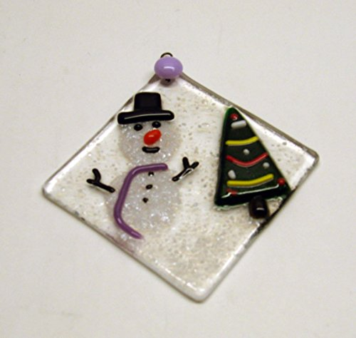 Snowman with a Christmas Tree Diamond Shape Handmade Fused