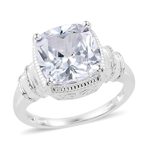 (925 Sterling Silver Cushion Cubic Zirconia CZ Solitaire Engagement Ring for Women Size 9 Cttw 10.1)