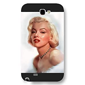 UniqueBox - Customized Black Frosted Samsung Galaxy Note 2 Case, Marilyn Monroe Samsung Note 2 case, Only fit Samsung Galaxy Note 2 WANGJING JINDA