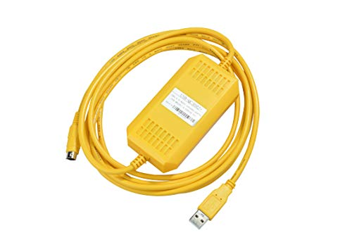 Washinglee Q USB PLC Programming Cable, for Mitsubishi Q Series, Enhanced USB-QC30R2 Replacement, FTDI chip, Isolated Interface, 6 FT, Yellow. (USB-QC30R2 Plus)