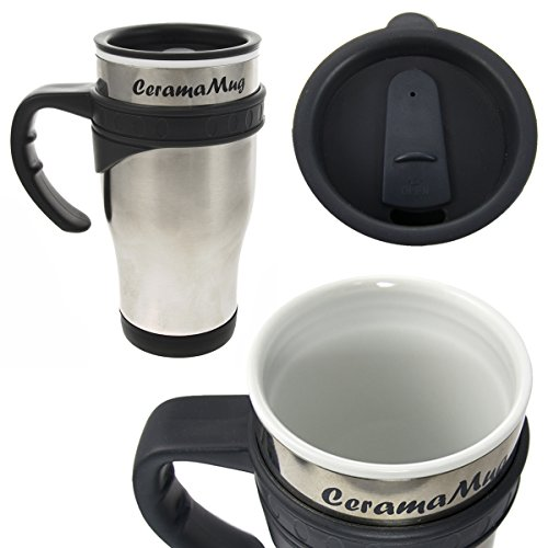 2 Ceramamugs Ceramic Lined Stainless Steel 12oz Travel Mugs