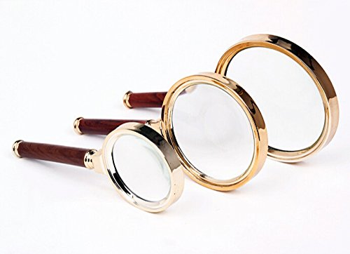 Redwood Wooden Handle 90mm Dia 10X Magnifier Magnifying Glass