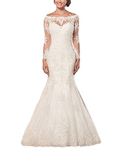 Sleeve Wedding Long Lace for White Fanciest White Women's Mermaid Bride 2017 Dresses wqSRxIXx