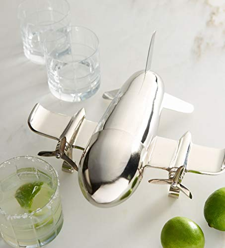 Le'raze Airplane Cocktail Shaker, Premium 24 Ounce Bar Shaker With Stand, Airplane Art Bar Drink Shaker, Aviation Bartender Mixer, Ideal For Flying Bartender, Pilot Gift, Chrome Airplane Decor by Le'raze (Image #6)