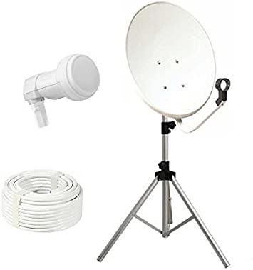 Kit especial para camping, fijación parábola de 70 cm, acero + LNB Single + 10 m, cable + trípode telescópico para terraza, soporte de fijación para ...