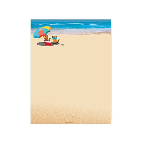 - Beach Stationery - 8.5 x 11-60 Beach Letterhead Sheets - Umbrella & Chair Ocean Beach View