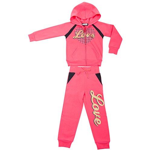 [39553-PinkTuba-10/12] Girl's Hoodie Tracksuit Set Zip Jacket Pullon Pants