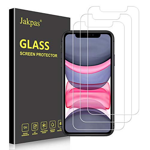 Jakpas Screen Protector for iPhone 11 (6.1),iPhone XR (6.1 inch),[3 Pack] Tempered Glass Screen Protector [Bubble Free] [Anti-Scratch] [High Responsive] Work Most Case for iPhone XR
